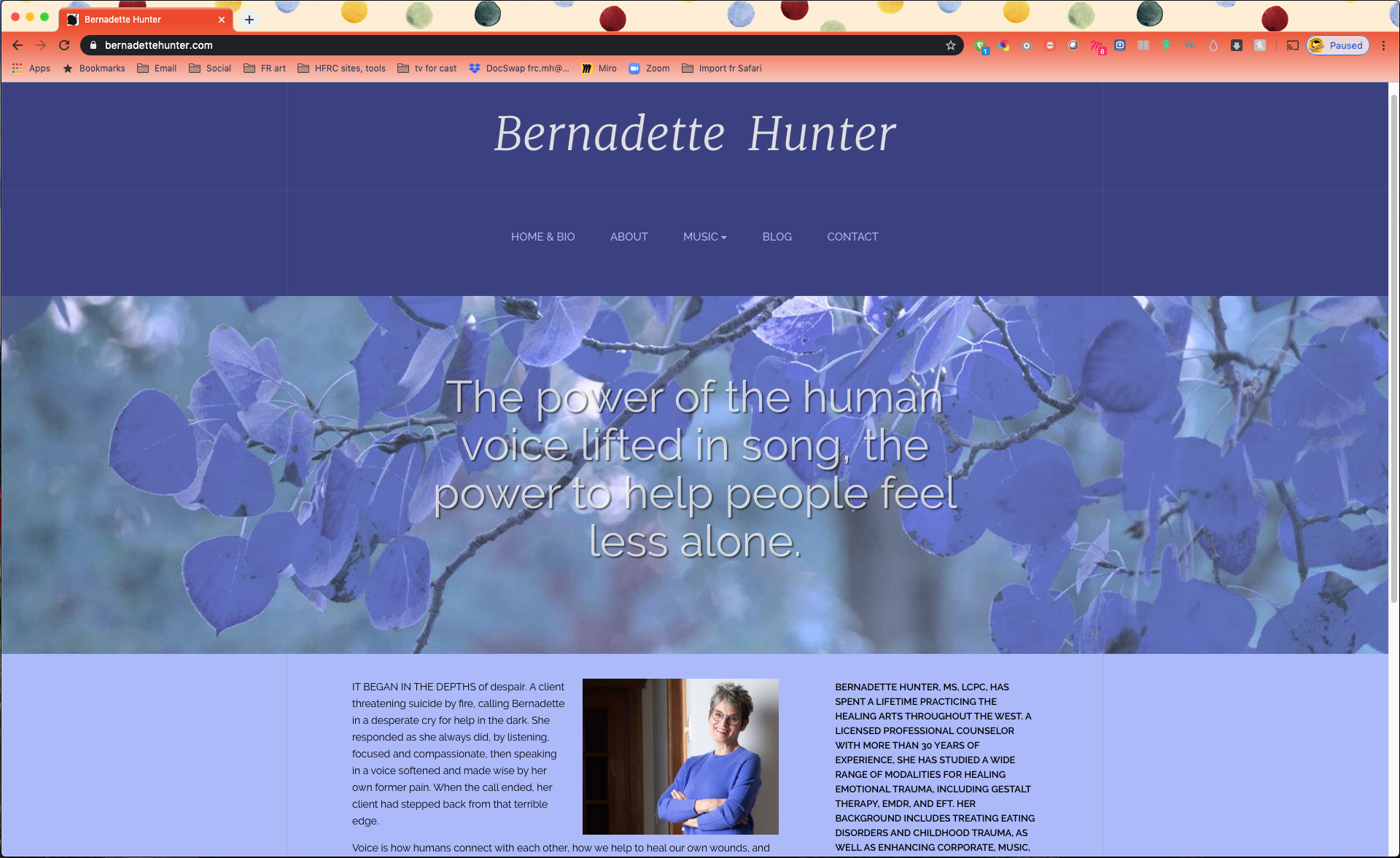 Bernadette Hunter website home page